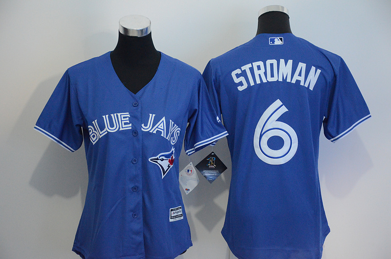 Womens 2017 MLB Toronto Blue Jays 6 Stroman Blue Jerseys