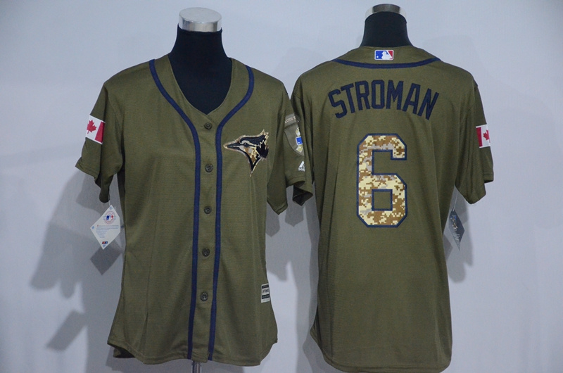 Womens 2017 MLB Toronto Blue Jays 6 Stroman Green Salute to Service Stitched Baseball Jersey