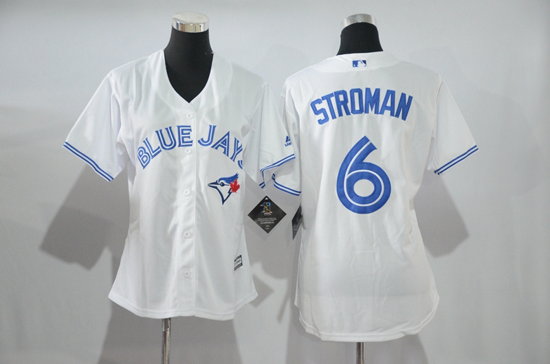 Womens 2017 MLB Toronto Blue Jays 6 Stroman White Jerseys