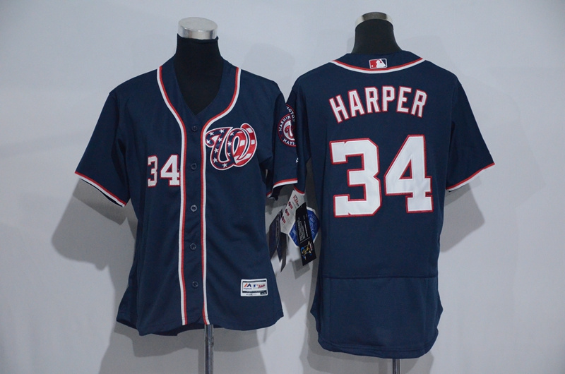 Womens 2017 MLB Washington Nationals 34 Harper Blue Elite Jerseys
