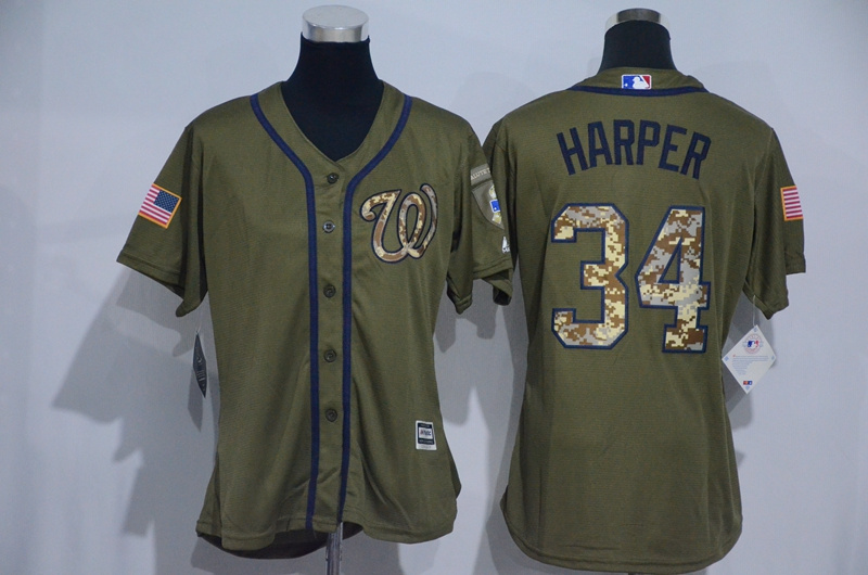 Womens 2017 MLB Washington Nationals 34 Harper Green Salute to Service Stitched Baseball Jersey