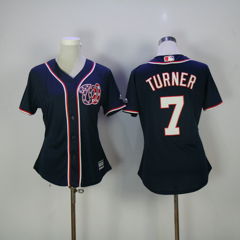 Womens 2017 MLB Washington Nationals 7 Turner Blue Jerseys