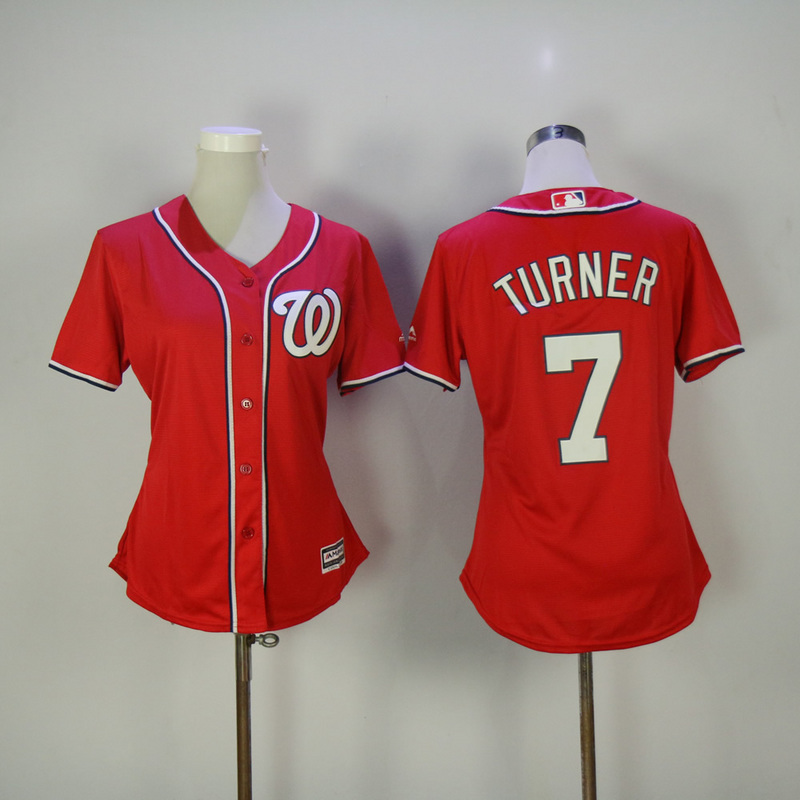 Womens 2017 MLB Washington Nationals 7 Turner Red Jerseys