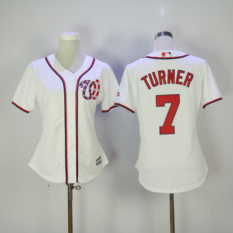 Womens 2017 MLB Washington Nationals 7 Turner White Jerseys
