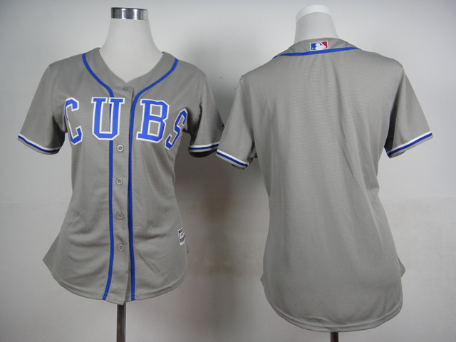 Womens MLB Chicago Cubs Blank Grey 2015 Jerseys