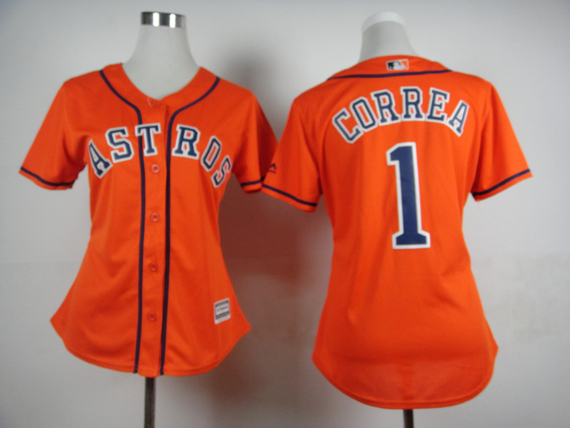 Womens MLB Houston Astros 1 Carlos Correa Orange 2015 Jerseys