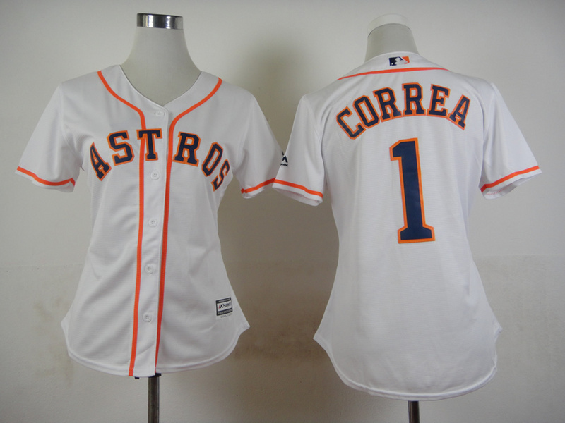 Womens MLB Houston Astros 1 Carlos Correa White 2015 Jerseys
