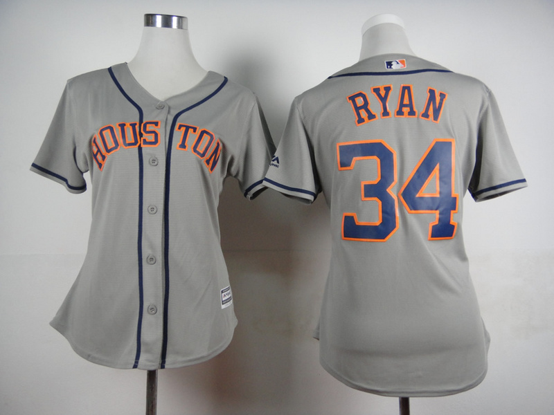 Womens MLB Houston Astros 34 Nolan Ryan Grey 2015 Jerseys