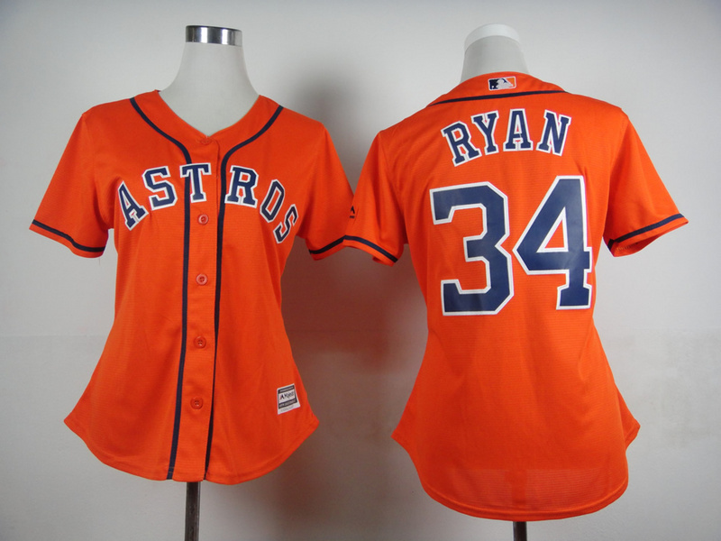 Womens MLB Houston Astros 34 Nolan Ryan Orange 2015 Jerseys