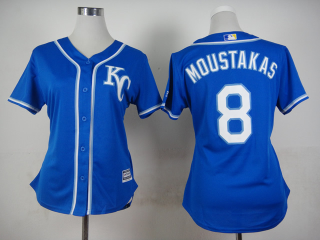 Womens MLB Kansas Royals 8 Moustakas Blue 2015 Jerseys