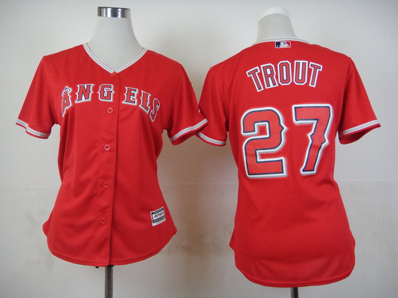 Womens MLB Los Angeles Angels 27 Trout Red 2015 Jerseys