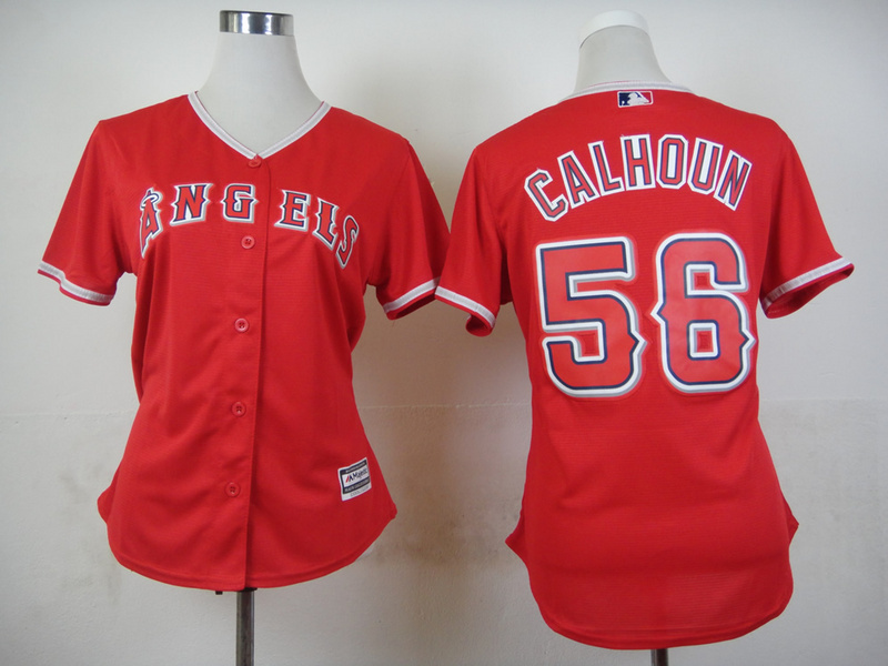 Womens MLB Los Angeles Angels 56 Calhoun Red 2015 Jerseys
