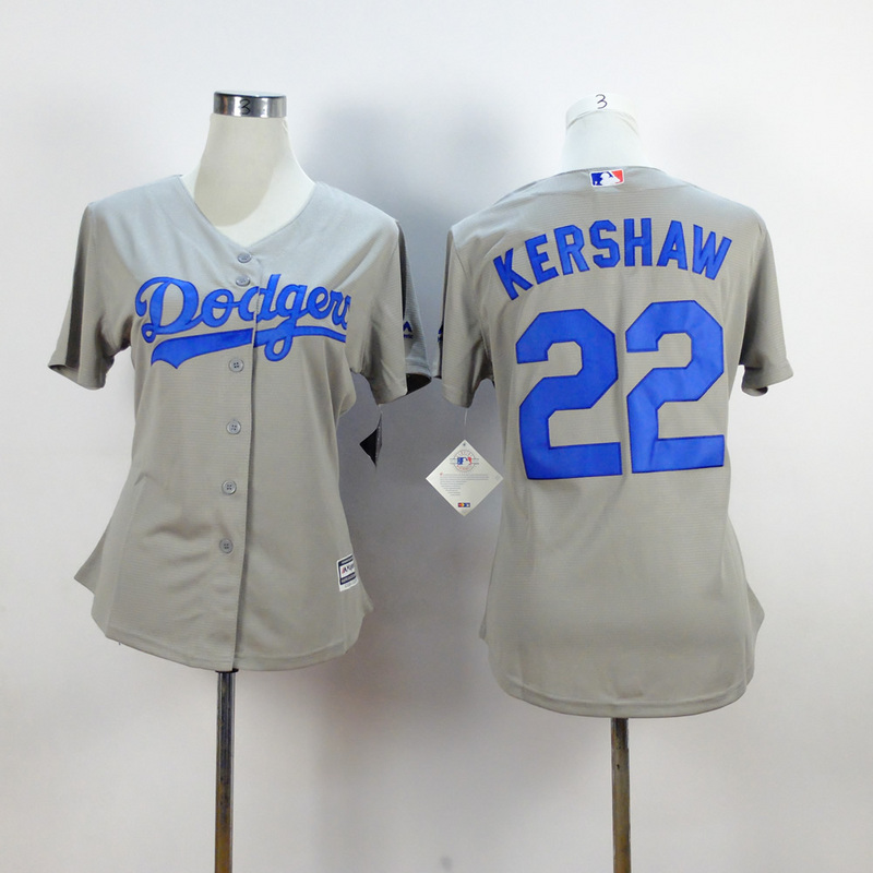Womens MLB Los Angeles Dodgers 22 kershaw grey 2015 New Fabric Jersey