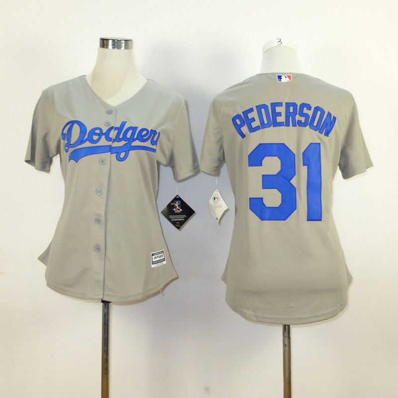 Womens MLB Los Angeles Dodgers 31 pederson grey 2015 New Fabric Jersey