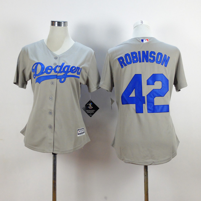 Womens MLB Los Angeles Dodgers 42 robinson grey 2015 New Fabric Jersey
