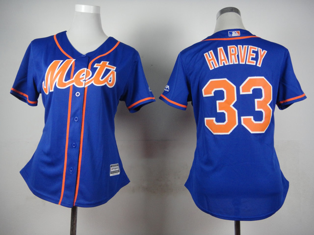 Womens MLB New York Mets 33 Harvey Blue 2015 Jerseys
