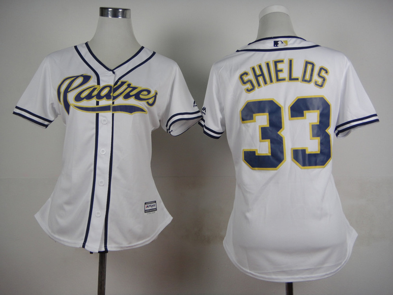 Womens MLB San Diego Padres 33 Shields White 2015 Jerseys
