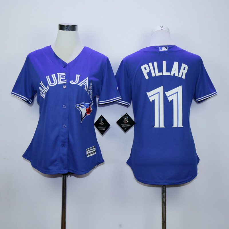 Womens MLB Toronto Blue Jays 11 Kevin Pillar Blue 2015 Jerseys