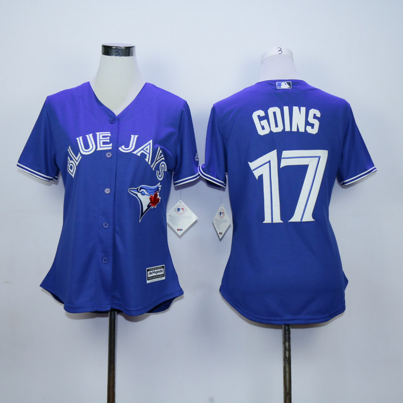 Womens MLB Toronto Blue Jays 17 Ryan Goins Blue 2015 Jerseys