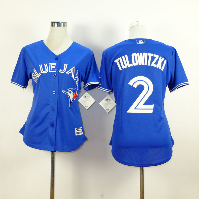 Womens MLB Toronto Blue Jays 2 tulowitzki blue 2015 New Fabric Jersey