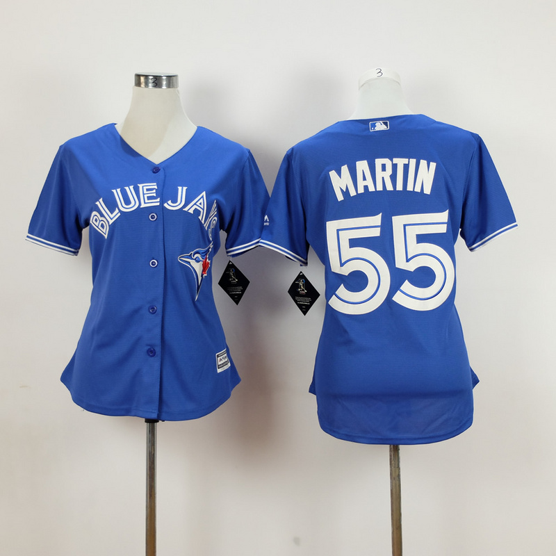 Womens MLB Toronto Blue Jays 55 martin blue 2015 New Fabric Jersey