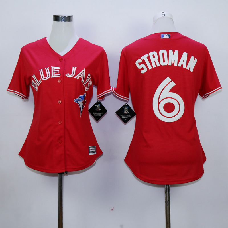 Womens MLB Toronto Blue Jays 6 Stroman Red 2015 Jerseys