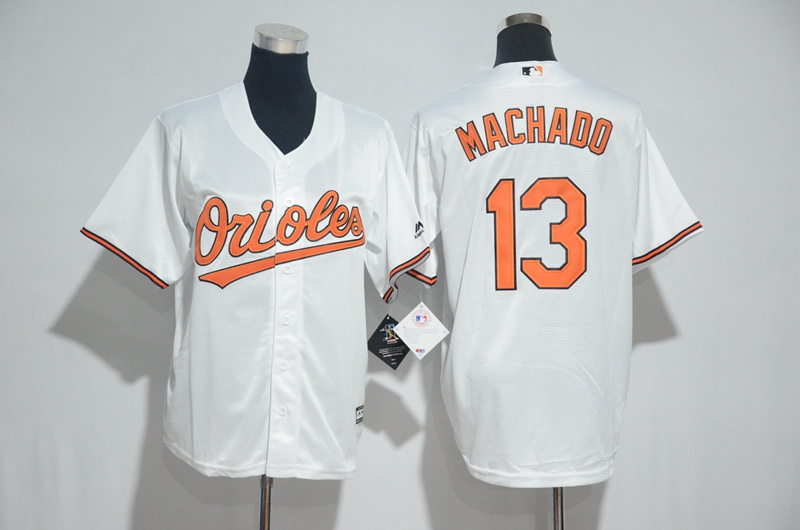 Youth 2017 MLB Baltimore Orioles 13 Machado White Jerseys