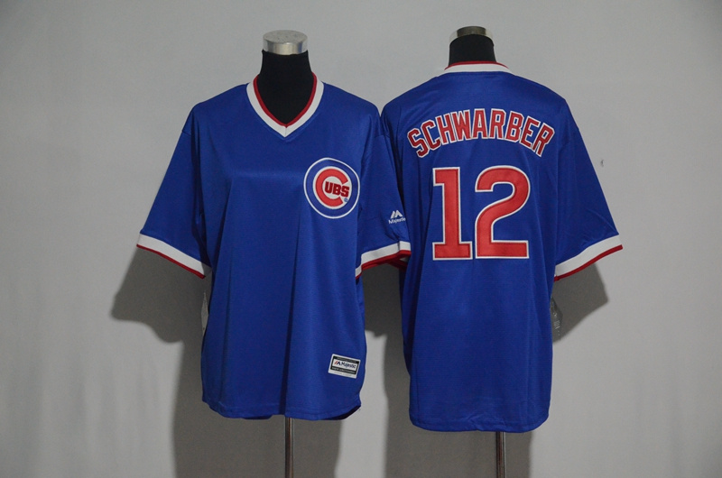 Youth 2017 MLB Chicago Cubs 12 Schwarber Blue Jerseys