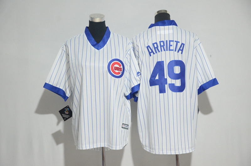 Youth 2017 MLB Chicago Cubs 49 Arrieta White stripe Jerseys