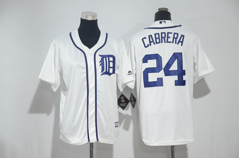 Youth 2017 MLB Detroit Tigers 24 Cabrera White Jerseys