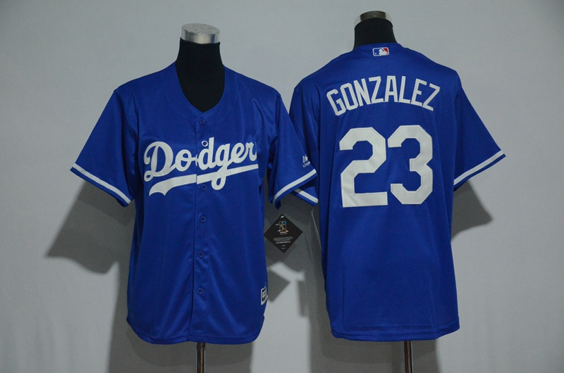 Youth 2017 MLB Los Angeles Dodgers 23 Gonzalez Blue Jerseys
