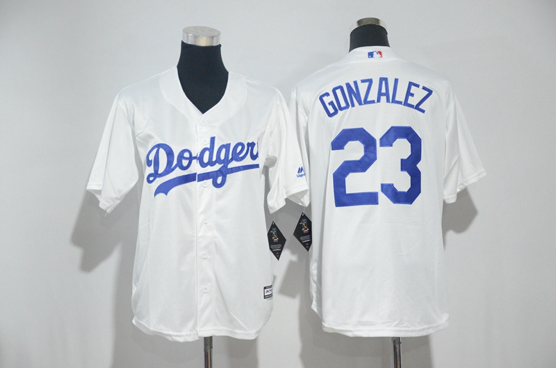 Youth 2017 MLB Los Angeles Dodgers 23 Gonzalez White Jerseys