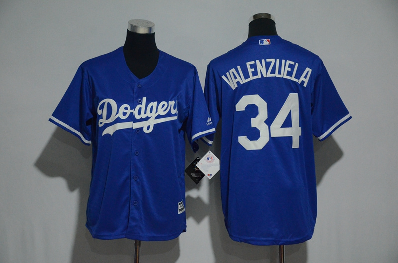 Youth 2017 MLB Los Angeles Dodgers 34 Valenzuela Blue Jerseys