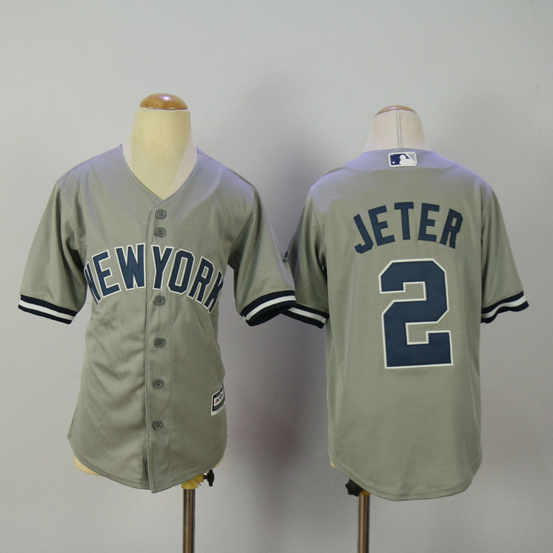 Youth 2017 MLB New York Yankees 2 Jeter Grey Jerseys