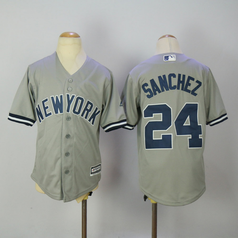Youth 2017 MLB New York Yankees 24 Sanchez Grey Jerseys