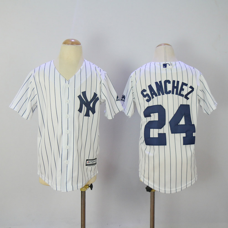 Youth 2017 MLB New York Yankees 24 Sanchez White Jerseys