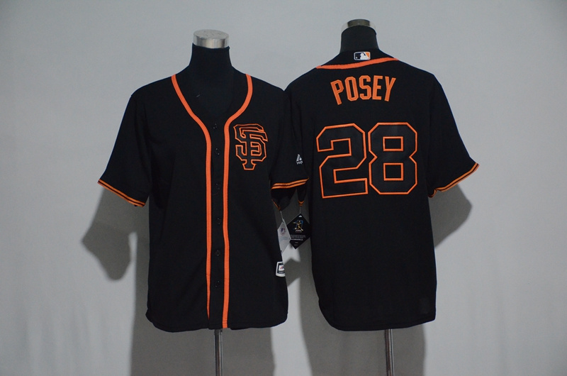 Youth 2017 MLB San Francisco Giants 28 Posey Black Jerseys