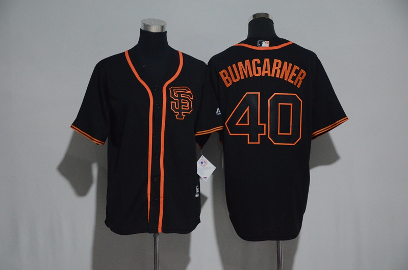 Youth 2017 MLB San Francisco Giants 40 Bumgarner Black Jerseys