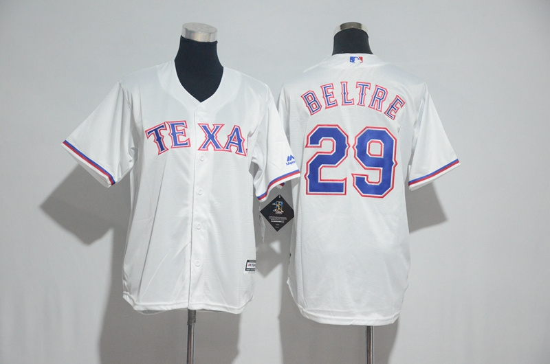 Youth 2017 MLB Texas Rangers 29 Beltre White Jerseys