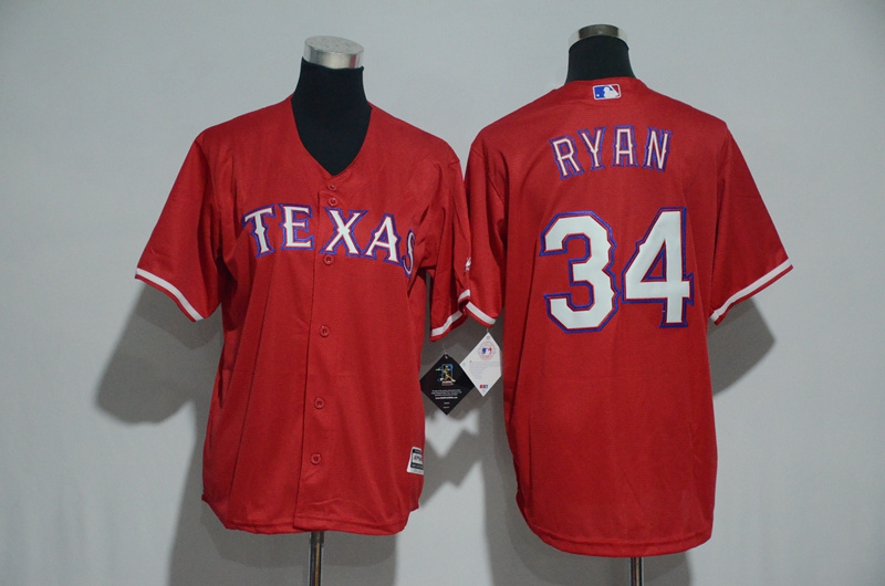 Youth 2017 MLB Texas Rangers 34 Ryan Red Jerseys