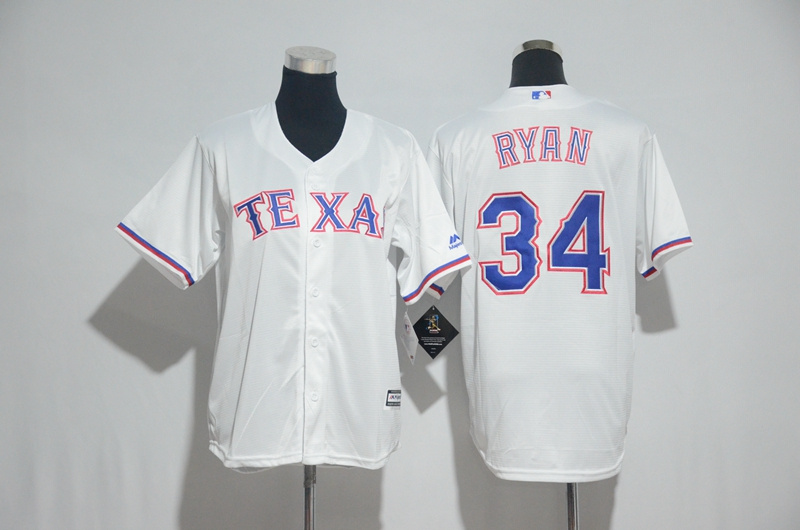 Youth 2017 MLB Texas Rangers 34 Ryan White Jerseys