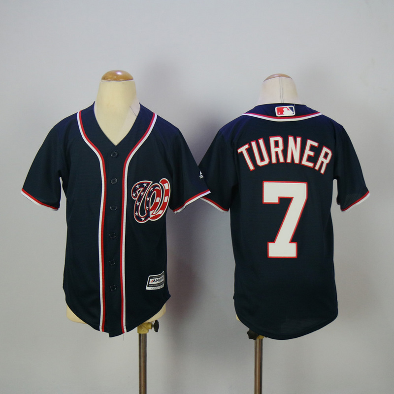 Youth 2017 MLB Washington Nationals 7 Turner Blue Jerseys