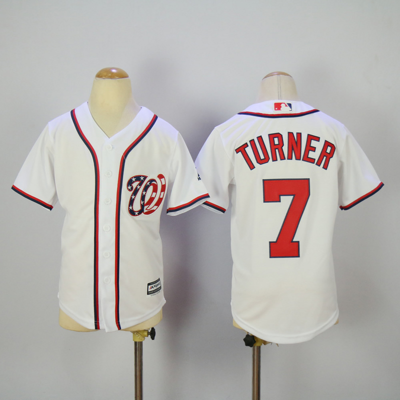 Youth 2017 MLB Washington Nationals 7 Turner White Jerseys