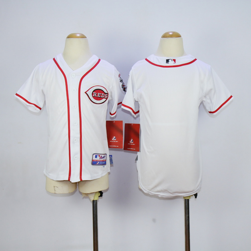 Youth MLB Cincinnati Reds Blank White 2015 Jerseys