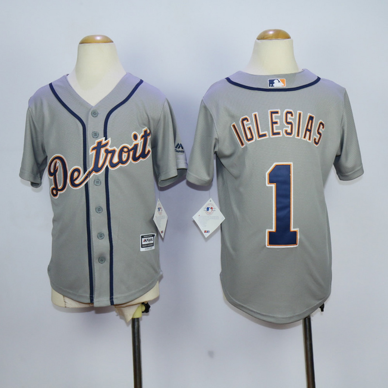 Youth MLB Detroit Tigers 1 Jose Iglesias Grey 2015 Jerseys