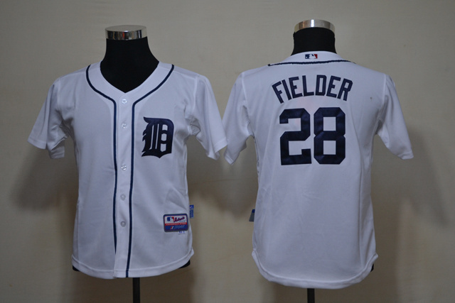 Youth MLB Detroit Tigers 28 Fielder white Jerseys