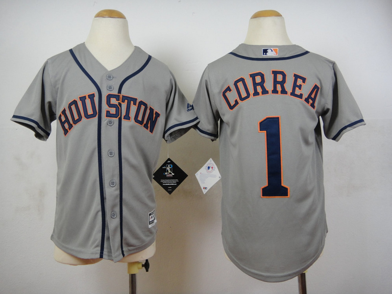 Youth MLB Houston Astros 1 Carlos Correa Grey 2015 Jerseys