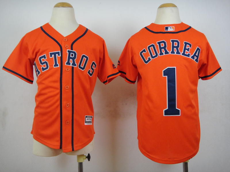 Youth MLB Houston Astros 1 Carlos Correa Orange 2015 Jerseys