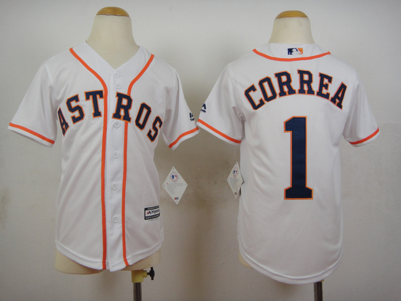 Youth MLB Houston Astros 1 Carlos Correa White 2015 Jerseys