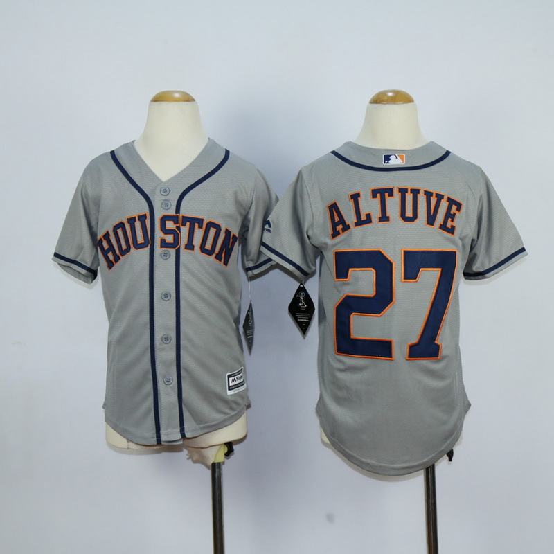 Youth MLB Houston Astros 27 Jose Altuve Grey 2015 Jerseys